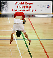 Loughborough, England - Saturday 31 July 2010: An English competitor sumersaults during the World Rope Skipping Championships held at Loughborough University, England. The championships run over 7 days and comprise junior categories for 12-14 year olds in the World Youth Tournament, 15-17 year olds male and female championships, and any age open championships. In the team competitions, 6 events are judged, the Single Rope Speed, Double Dutch Speed Relay, Single Rope Pair Freestyle, Single Rope Team Freestyle, Double Dutch Single Freestyle and Double Dutch Pair Freestyle. For more information check www.rs2010.org. Picture by Andrew Tobin/Picture It Now.