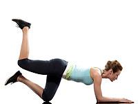 woman on Abdominals workout posture on white background.<br /> Plank<br /> Bent Leg Raise