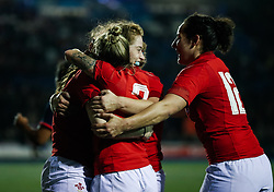 Lisa Neumann of Wales Women celebrates scoring a try<br /> <br /> Photographer Simon King/Replay Images<br /> <br /> Friendly - Wales Women v Hong Kong Women - Friday  16th November 2018 - Cardiff Arms Park - Cardiff<br /> <br /> World Copyright © Replay Images . All rights reserved. info@replayimages.co.uk - http://replayimages.co.uk