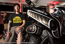 Custom bike builder Jake Cutler of Barnstorm Cycles with his just revealed Indian Chieftain at an Indian party at the Hilton Hotel during bike week. Daytona Beach, FL, USA. Friday March 10, 2017. Photography ©2017 Michael Lichter.