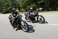 Sante Mazza riding his 1926 Moto Frera alongside Claudia Ganzaroli on her 1928 Moto Frera during Stage 3 of the Motorcycle Cannonball Cross-Country Endurance Run, which on this day ran from Columbus, GA to Chatanooga, TN., USA. Sunday, September 7, 2014.  Photography ©2014 Michael Lichter.