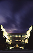 Riverpointe Office Building in Conroe, Texas at dusk.