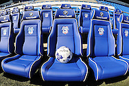 Cardiff City's new bench blue seats are pictured before Cardiff's Skybet football league championship match, Cardiff city v Fulham at the Cardiff city stadium in Cardiff, South Wales on Saturday 8th August  2015.<br /> pic by Carl Robertson, Andrew Orchard sports photography.
