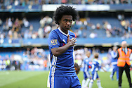 Willian of Chelsea looks on during a walk around the pitch after full time. Barclays Premier league match, Chelsea v Leicester city at Stamford Bridge in London on Sunday 15th May 2016.<br /> pic by John Patrick Fletcher, Andrew Orchard sports photography.