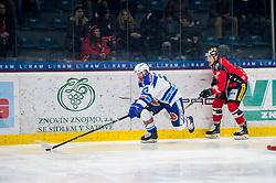 22.12.2017, Ice Rink, Znojmo, CZE, EBEL, HC Orli Znojmo vs EC VSV, 31. Runde, im Bild v.l. Markus Schlacher (EC VSV) David Bartos (HC Orli Znojmo) // during the Erste Bank Icehockey League 31th round match between HC Orli Znojmo and EC VSV at the Ice Rink in Znojmo, Czech Republic on 2017/12/22. EXPA Pictures © 2017, PhotoCredit: EXPA/ Rostislav Pfeffer