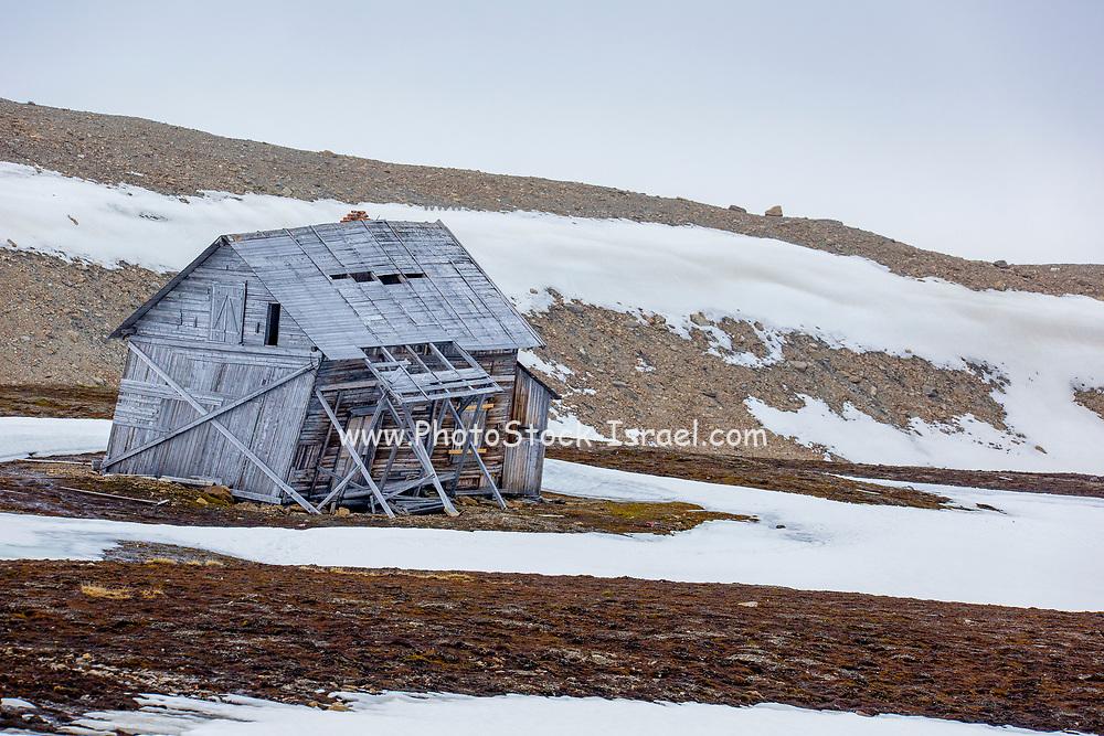 whaling hut on remote arctic coast in summer. Ahlstrandhalvoya, Bellsund, Spitsbergen, Svalbard archipelago, Norway, Scandinavia