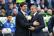Middlesbrough FC Head Coach Aitor Karanka and Brighton Manager, Chris Hughton during the Sky Bet Championship match between Brighton and Hove Albion and Middlesbrough at the American Express Community Stadium, Brighton and Hove, England on 19 December 2015. Photo by Phil Duncan.