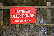 Danger Deep Ponds red warning sign