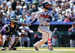 April 8, 2018 - Denver, CO, U.S. - DENVER, CO - APRIL 08: Atlanta Braves Outfielder Nick Markakis (22) bats during a regular season MLB game between the Colorado Rockies and the visiting Atlanta Braves on April 8, 2018 at Coors Field in Denver, CO. (Photo by Russell Lansford/Icon Sportswire) (Credit Image: © Russell Lansford/Icon SMI via ZUMA Press)