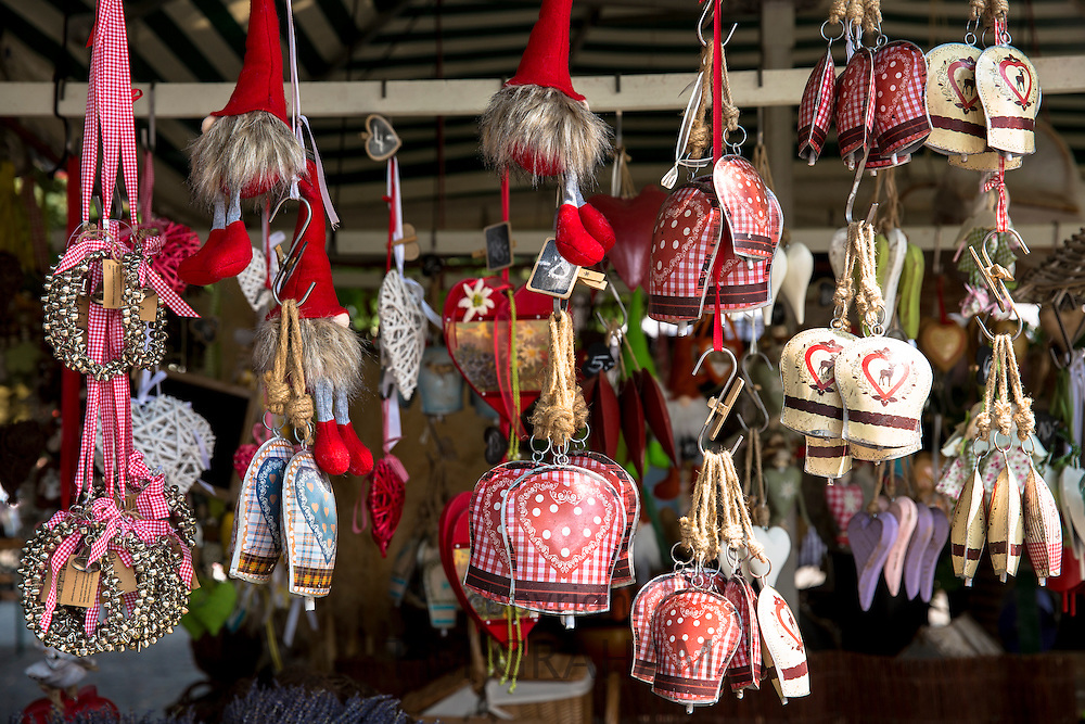 Baubles and gifts on display at shop in Munich, Bavaria, Germany
