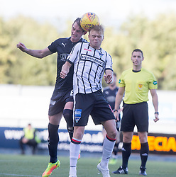 Falkirk's Mark Kerr and Dunfermline's Aaron Splaine. Falkirk 2 v 0 Dunfermline, Scottish Challenge Cup played 7/9/2017 at The Falkirk Stadium.