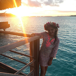 """Alessandra Ambrosio releases a photo on Instagram with the following caption: """"Sunset princess \ud83c\udf05\ud83c\udf3a\ud83c\udf05 #BoraBora"""". Photo Credit: Instagram *** No USA Distribution *** For Editorial Use Only *** Not to be Published in Books or Photo Books ***  Please note: Fees charged by the agency are for the agency's services only, and do not, nor are they intended to, convey to the user any ownership of Copyright or License in the material. The agency does not claim any ownership including but not limited to Copyright or License in the attached material. By publishing this material you expressly agree to indemnify and to hold the agency and its directors, shareholders and employees harmless from any loss, claims, damages, demands, expenses (including legal fees), or any causes of action or allegation against the agency arising out of or connected in any way with publication of the material."""
