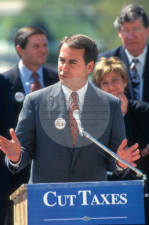 WASHINGTON, DC, USA - 1997/04/15: U.S. Rep. John Boehner during a rally of Republican members of Congress on Tax Day at the West side of the U.S. Capitol April 15, 1997 in Washington, DC. Republicans are pushing for a constitutional amendment that would require a two-thirds vote in each chamber to increase taxes.  (Photo by Richard Ellis)