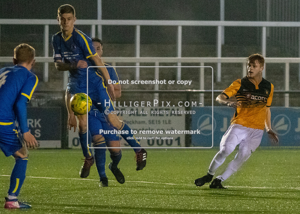 BROMLEY, UK - OCTOBER 17:  The FA Youth Cup 3rd Round Qualifier match (31) between Cray Wanderers and Raynes Park Vale at Hayes Lane on October 17, 2018 in Bromley, UK. (Photo: Jon Hilliger)
