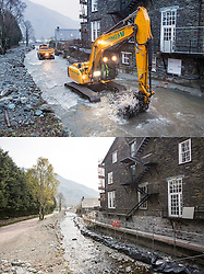 © Licensed to London News Pictures. 11/05/2016. Glenridding UK.FIVE MONTH COMPARISON OF FLOODED VILLAGE OF GLENRIDDING.  Top picture taken 10/12/2015 shows the Glenridding Hotel that was flooded during storm Desmond damaging the whole ground floor including the kitchen, bar & coffee shop in December. Bottom picture taken 10/05/2016 shows the Glenridding Hotel that is closed until further notice five months on from storm Desmond. The diggers are still in the village of Glenridding five months after storm Desmond hit the area & flooded the village three times last December. Residents of the village have become frustrated at the Environment Agency after it took almost four months for the agency to start work on new flood defences leaving the village looking like a building site during the normally busy tourist period essential to get the area back on it's feet. Photo credit: Andrew McCaren/LNP