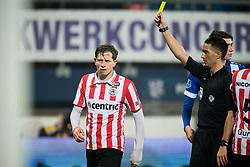 (L-R) Craig Goodwin of Sparta Rotterdam, referee Serdar Gozubuyuk during the Dutch Eredivisie match between sc Heerenveen and Sparta Rotterdam at Abe Lenstra Stadium on January 26, 2018 in Heerenveen, The Netherlands