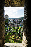 From the Munot fortress, admire views of vineyards and Schaffhausen rooftops, in Switzerland, Europe.