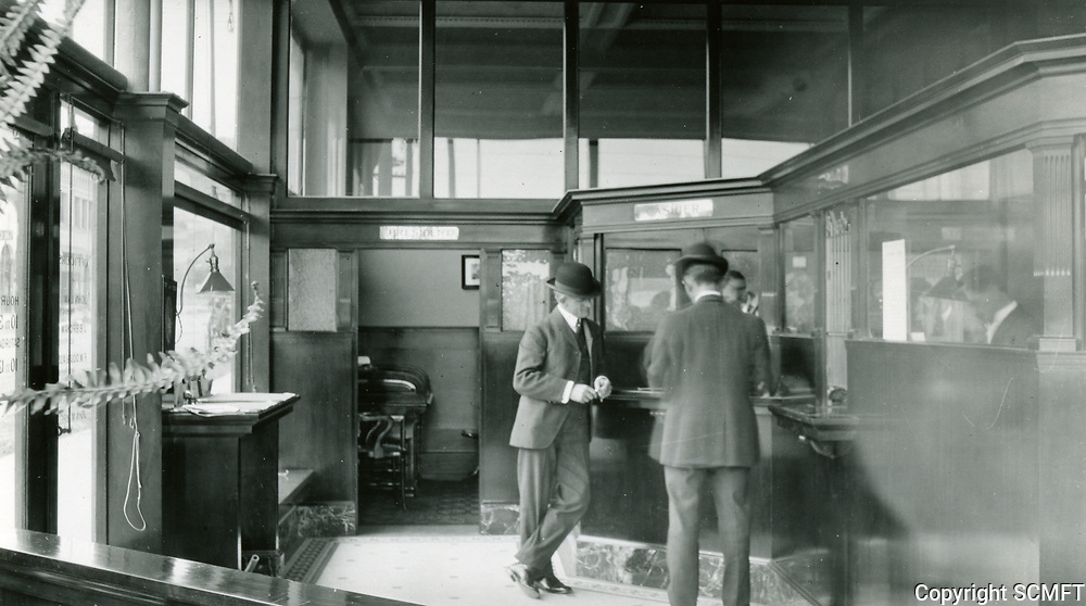 1910 Interior of First National Bank at Hollywood Blvd. & Highland Ave.