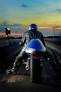 Rear view of drag racer waiting to launch on racetrack at Thunder Valley Raceway in Noble, Oklahoma