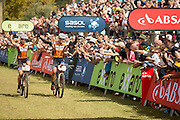 Annika Langvad (left) and Ariane Kleinhans of Team RECM2 win the ladies 2014 ABSA Cape Epic after winning the final stage (stage 7) of the 2014 Absa Cape Epic Mountain Bike stage race from Oak Valley Wine Estate in Elgin to Lourensford Wine Estate in Somerset West, South Africa on the 30 March 2014<br /> <br /> Photo by Greg Beadle/Cape Epic/SPORTZPICS