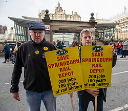 Pictured: Mick Hogg, RMTB S~cottrish Regional Organiuser and Glenn Broddle, Shop Steward from Milton Keynes<br />