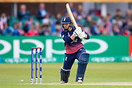 England womens cricket player Tammy Beaumont (wk)  with a drive during the ICC Women's World Cup match between England and Pakistan at the Fischer County Ground, Grace Road, Leicester, United Kingdom on 27 June 2017. Photo by Simon Davies.