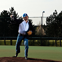 11 April 2010: Didier Seminet, President of the French Federation of Baseball and Softball throws the first pitch during game 1/week 1 of the French Elite season won 5-1 by Rouen over Montigny, at the Cougars Stadium in Montigny le Bretonneux, France.