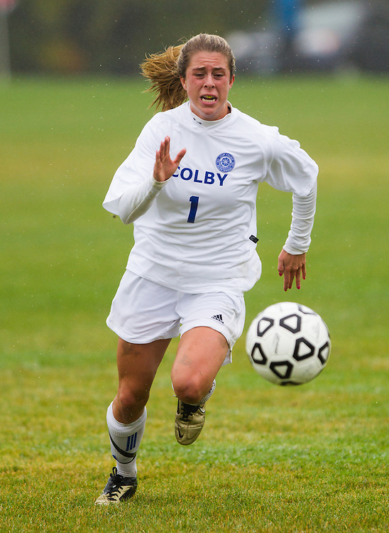 Annie Papadellis, of Colby College, in an NCAA Division III college soccer game against Trinity College at Colby College, Saturday Sept. 29, 2012 in Waterville, ME. (Dustin Satloff/Colby College Athletics)