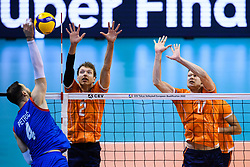 06-01-2020 NED: CEV Tokyo Volleyball European Qualification Men, Berlin<br /> Match Serbia vs. Netherlands 3-0 / Wessel Keemink #2 of Netherlands, Michael Parkinson #17 of Netherlands