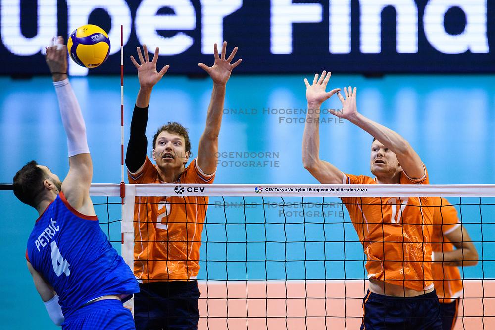 06-01-2020 NED: CEV Tokyo Volleyball European Qualification Men, Berlin<br /> Match Serbia vs. Netherlands 3-0 / Wessel Keemink #2 of Netherlands, Michael Parkinson #17 of Netherlands