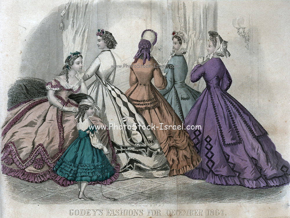 Godey's Fashion for December 1864 from Godey's Lady's Book and Magazine, December, 1864, Volume LXIX, (Volume 69), Philadelphia, Louis A. Godey, Sarah Josepha Hale,