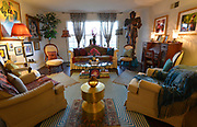 """The living room features a full-size suit of armor which she has nicknamed """"Rusty"""".Photo taken on January 8, 2019 for """"At Home"""" feature on Sandy Stolberg, who uses dollar store finds as part of the decorations in her Belleville, IL condo.<br /> Photo by Tim Vizer"""