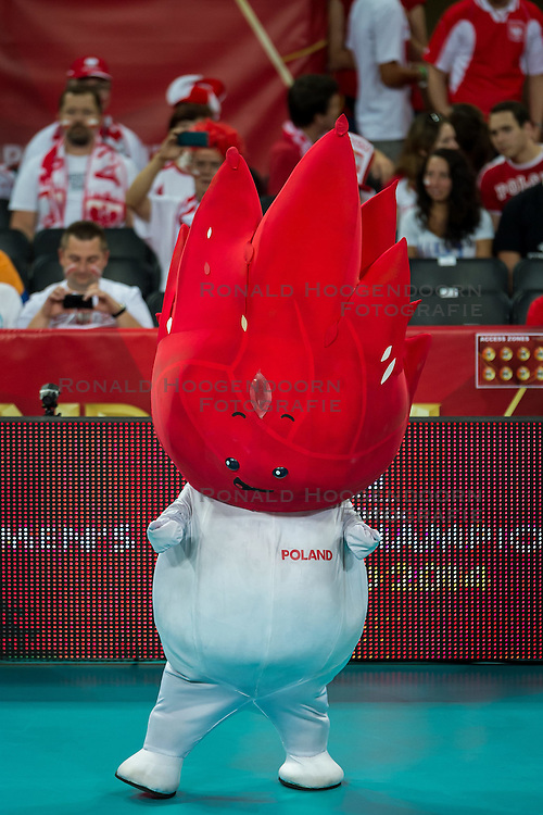 06.09.2014, Jahrhunderthalle, Breslau, POL, Venezuela vs Serbien, Gruppe A, im Bild the official mascot of the championships // during the FIVB Volleyball Men's World Championships Pool A Match beween Uenezuela and Serbia at the Jahrhunderthalle in Breslau, Poland on 2014/09/06. <br /> <br /> ***NETHERLANDS ONLY***