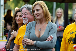 Kim and Jon Borneman at their home where they hosted a gathering after the Arlen Ness Memorial - Celebration of Life. Pleasanton, CA, USA. Saturday, April 27, 2019. Photography ©2019 Michael Lichter.