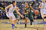 April 4, 2016; Indianapolis, Ind.; Kiki Robertson drives into the paint in the NCAA Division II Women's Basketball National Championship game at Bankers Life Fieldhouse between UAA and Lubbock Christian. The Seawolves lost to the Lady Chaps 78-73.