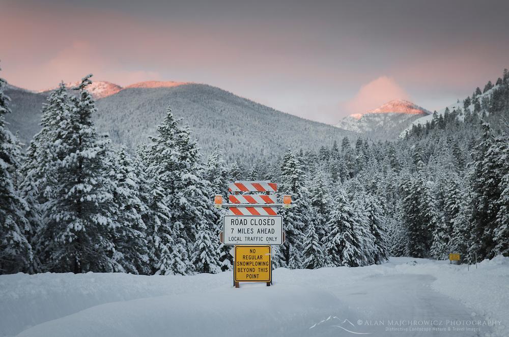North Cascades Highway winter road closure near Mazamaz, Washington
