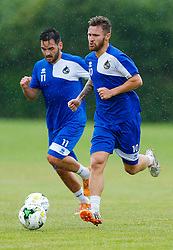 Matt Taylor and Jake Gosling in action as Bristol Rovers return to training ahead of their 2015/16 Sky Bet League Two campaign - Photo mandatory by-line: Rogan Thomson/JMP - 07966 386802 - 02/07/2015 - SPORT - Football - Bristol, England - The Lawns Training Ground, Henbury - Sky Bet League Two.