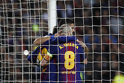 April 4, 2018 - Barcelona, Catalonia, Spain - April 4, 2018 - Barcelona, Spain - Uefa Champions League Quarter final first leg, FC Barcelona v AS Roma: FC Barcelona celebrate the goal scored by Daniele De Rossi of Roma  (Credit Image: © Marc Dominguez via ZUMA Wire)