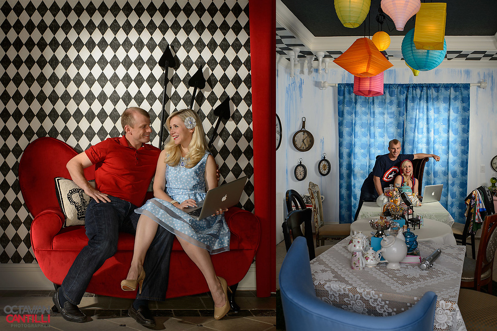 World Series Champion and MVP David Eckstein and his  wife, American actress, voice actress, and fashion designer Ashley Eckstein in their Alice in Wonderland inspired dinning room. For Sports Illustrated