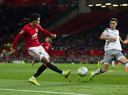 Mason Greenwood of Manchester United crosses for their second goal, an own goal by Ryan Jackson of Colchester United - Mandatory by-line: Jack Phillips/JMP - 18/12/2019 - FOOTBALL - Old Trafford - Manchester, England - Manchester United v Colchester United - English League Cup Quarter Final