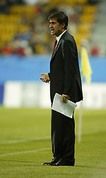 TEPLICE, CZECH REPUBLIC - Wednesday, April 30, 2003: Turkey coach Senol Gunes watches his side lose 4-0 to the Czech Republic during a friendly match at the Teplice Stadion Na Stinadlech. (Pic by David Rawcliffe/Propaganda)
