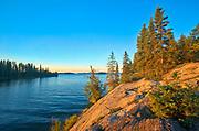 Lake Athapapuskow at sunrise<br />Near Bakers Narrows<br />Manitoba<br />Canada
