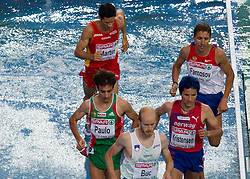 Eliseo Martin of Spain, Alberto Paulo of Portugal, Bostjan Buc of Slovenia, Bjornar Ustad Kristensen of Norway and Andrej Farnosov of Russia compete in the Mens 3000m Steeplechase Final during day six of the 20th European Athletics Championships at the Olympic Stadium on August 1, 2010 in Barcelona, Spain. (Photo by Vid Ponikvar / Sportida)