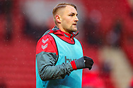 Charlton Athletic defender Patrick Bauer (5) warms up prior to the EFL Sky Bet League 1 match between Charlton Athletic and AFC Wimbledon at The Valley, London, England on 15 December 2018.
