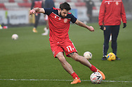Stevenage forward Danny Newton(11) warming up during the FA Cup match between Stevenage and Swansea City at the Lamex Stadium, Stevenage, England on 9 January 2021.