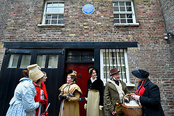 © Licensed to London News Pictures. 23/02/2020. LONDON, UK.  People in period costume attend an event marking the 200th anniversary of the Cato Street Conspiracy (evidenced by the blue plaque) in Marylebone.  On 23 February 1820, 13 plotters were foiled by Bow Street Runners (police of the day) in their attempt to overthrow the government by assassinating Prime Minister Lord Liverpool and his Cabinet ministers.  Photo credit: Stephen Chung/LNP