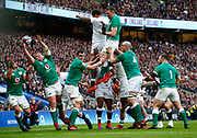 Tadhg Furlong of Ireland  (with Ball)Elliott Daly of England   goes over for his Tryduring the Guinness Six Nations between England and Ireland at Twickenham  Stadium, Sunday, Feb. 23, 2020, in London, United Kingdom. (ESPA-Images/Image of Sport)
