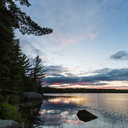 Sunrise on Bald Mountain Pond. Appalachian Trail. Bald Mountain Township, Maine.