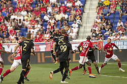 August 5, 2018 - Harrison, New Jersey, United States - Aaron Long (33) of Red Bulls kicks air ball during regular MLS game against LAFC at Red Bull Arena Red Bulls won 2 - 1 (Credit Image: © Lev Radin/Pacific Press via ZUMA Wire)