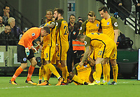 Football - 2017 / 2018 Premier League - West Ham United vs. Brighton & Hove Albion<br /> <br /> Brighton goalkeeper runs the length of the pitch to join in the celebrations for goal no 2 - scorer Jose Izquierdo at The London Stadium.<br /> <br /> COLORSPORT/ANDREW COWIE